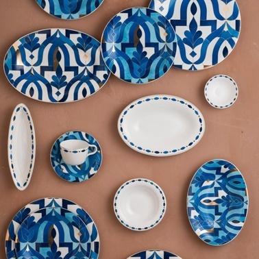 Karaca Fine Pearl Azur 62 Parça 12 Kişilik İnci Yemek Takımı Renkli